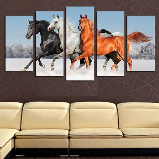 Original Oil Ink Canvas Print Jumping Horse Painting On Canvas Intended For Jump Canvas Wall Art (View 6 of 20)