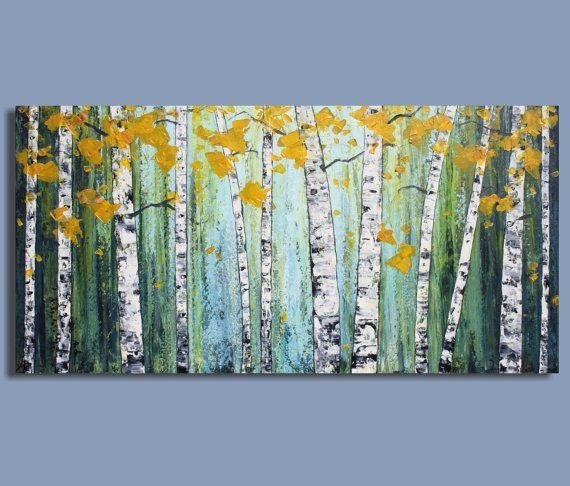 Original Painting Abstract Painting Landscape Painting Birch Tree With Regard To Birch Trees Canvas Wall Art (View 9 of 20)