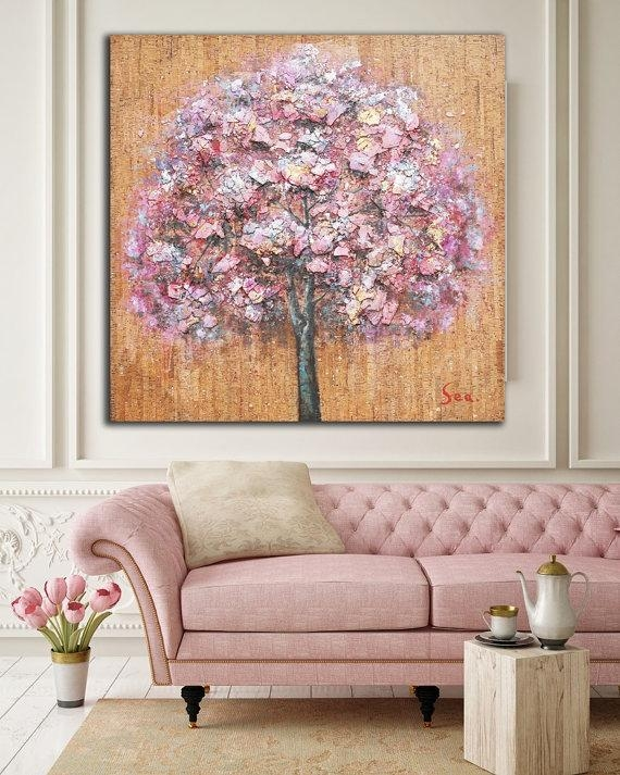 Original Rustic Abstract Pink Tree Wall Art / Mixed Media Painting Regarding Rustic Canvas Wall Art (View 17 of 20)