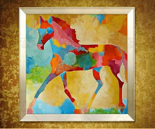 Original Square Abstract Horse Painting Colorful Horse Oil Wall Pertaining To Abstract Horse Wall Art (View 11 of 20)
