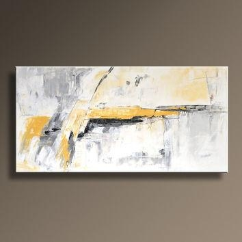Original Textured Abstract Painting On From Itarts On Etsy Regarding Yellow And Grey Abstract Wall Art (View 3 of 20)