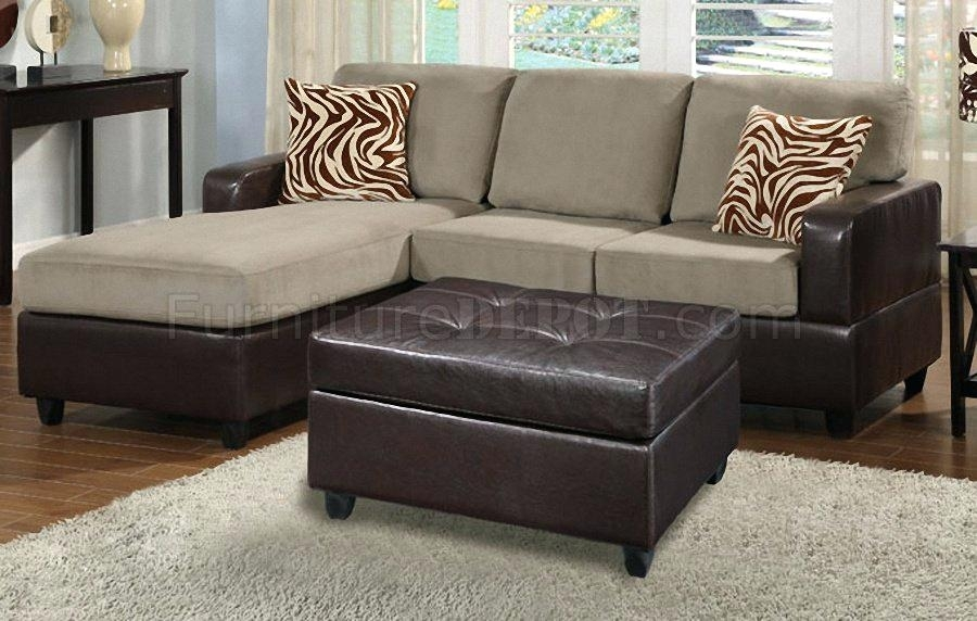 Ottoman In Front Of Bed Pebble Microfiber Faux Leather Sectional Intended For Sectional Sofas Under  (Image 7 of 10)