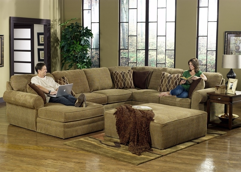 Oversized Sectionals Beautifull Furniture Raegan Green With Intended Regarding Sectionals With Oversized Ottoman (Image 7 of 10)
