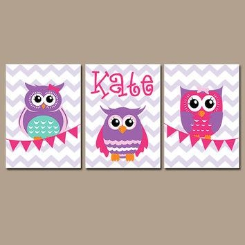 Owl Wall Art Nursery Canvas Artwork Girl From Trm Design | Wall For Personalized Nursery Canvas Wall Art (View 14 of 20)