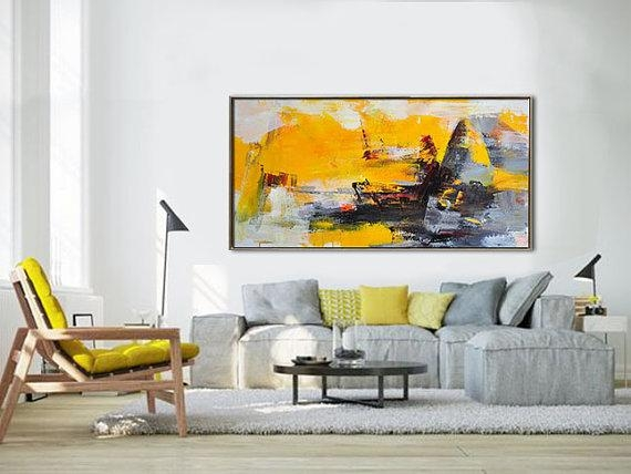 Palette Knife Painting, Original Horizontal Wall Art, Abstract Art With Regard To Horizontal Abstract Wall Art (View 3 of 20)