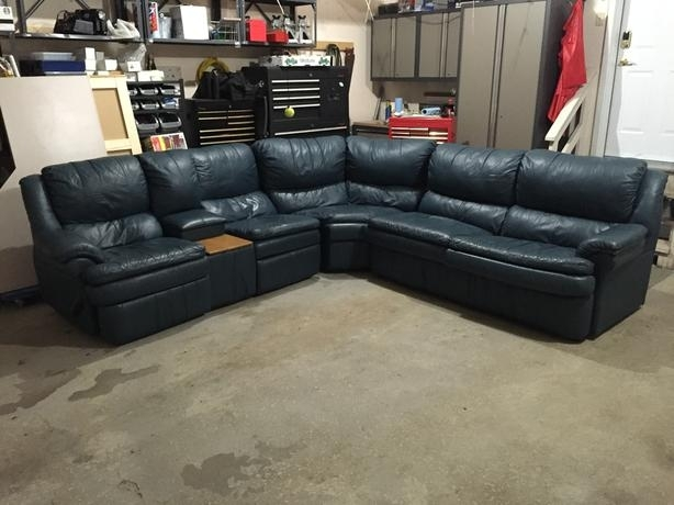 Palliser Leather Sectional Sofa With 2 Recliners & Pullout Bed Within Regina Sectional Sofas (View 10 of 10)