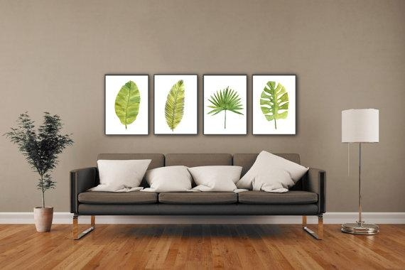 Palm Leaf Watercolor Painting Abstract Leaves Minimalist Fine With Regard To Abstract Leaves Wall Art (View 6 of 20)