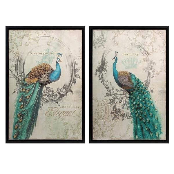 Panache Peacock Wall Art (Set Of 2) – Free Shipping Today With Birds Canvas Wall Art (Image 17 of 20)