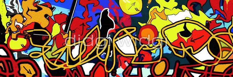 "Panoramic Graffiti Canvas Wall Art – ""back Burner"" – Graffiti In Graffiti Canvas Wall Art (Image 14 of 20)"