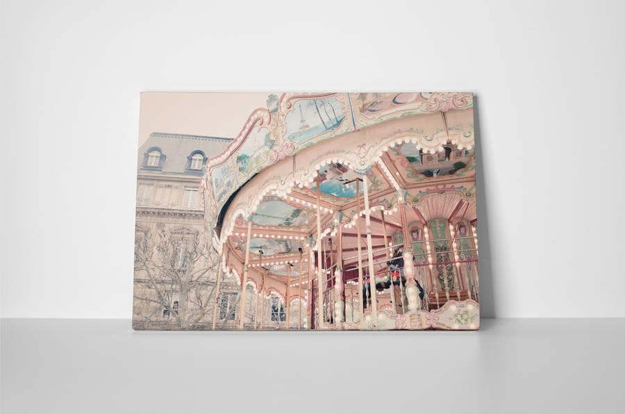 Paris Carousel Canvas Wall Artruby And B | Notonthehighstreet With Regard To Canvas Wall Art Of Paris (Image 11 of 20)