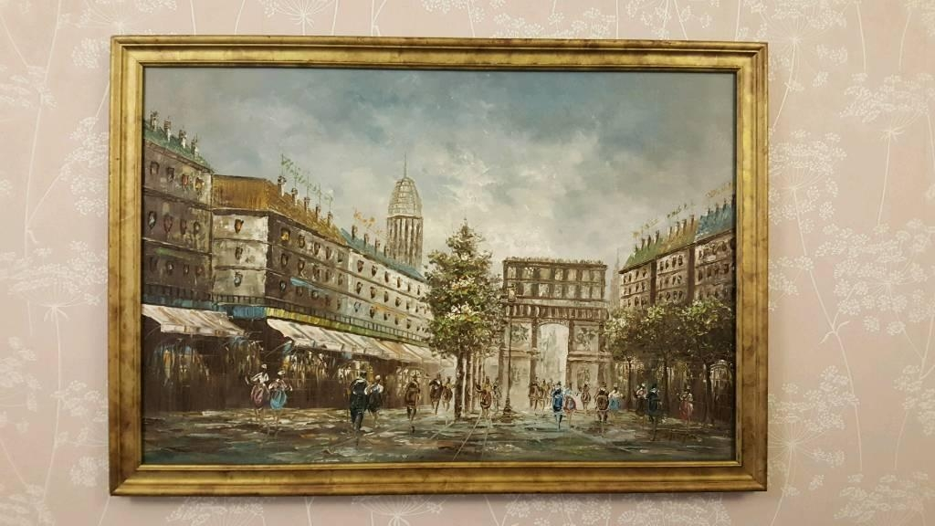 Paris Scene. John Lewis. Oil On Canvas Painting. 100X70Cm. £50 With John Lewis Abstract Wall Art (Photo 12 of 20)