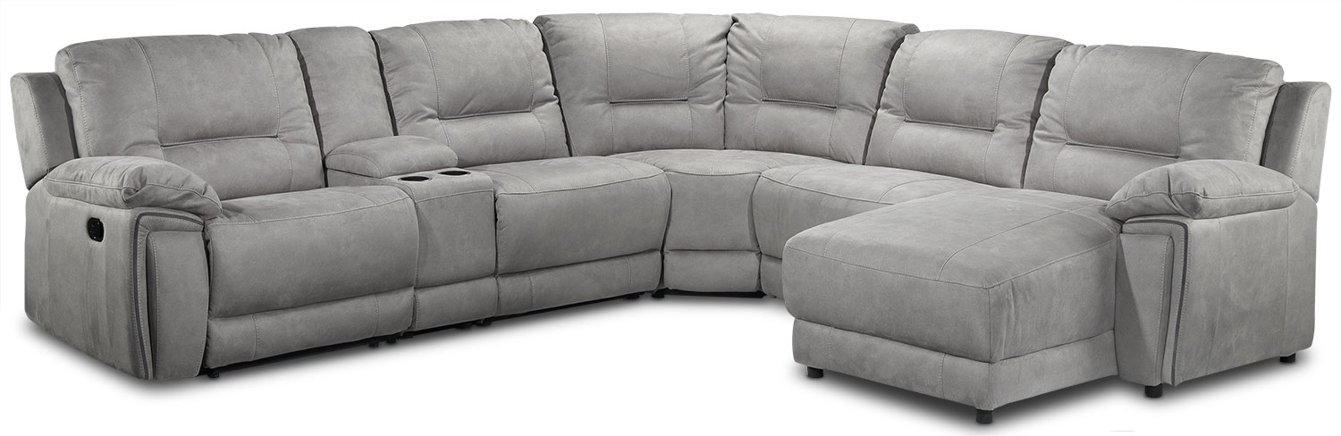Pasadena 6 Piece Reclining Sectional With Right Facing Chaise Intended For Leons Sectional Sofas (Image 9 of 10)