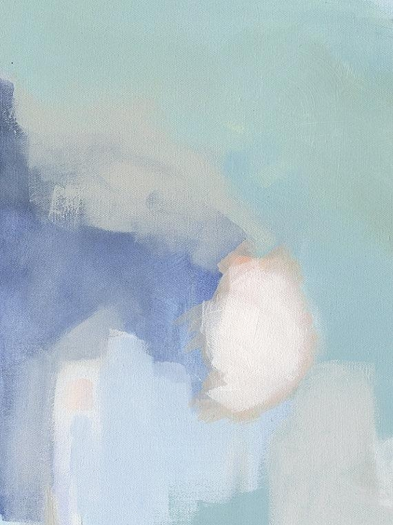 Pastel Abstract Painting Print Blue Print Art Large Canvas Within Pastel Abstract Wall Art (View 16 of 20)