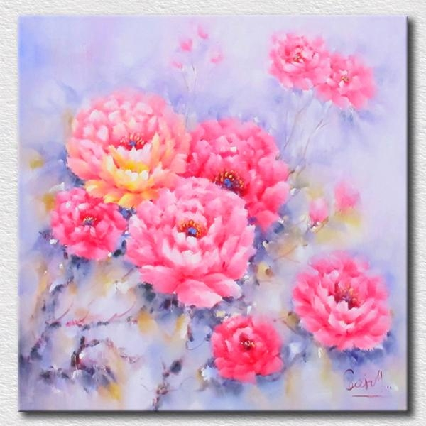 Pastel Colorful Flowers Oil Painting High Quality Reproduction Oil In Pastel Abstract Wall Art (View 12 of 20)