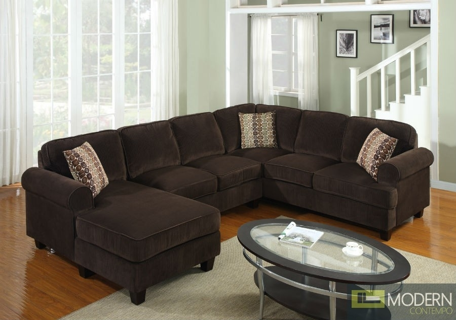 Pc Modern Brown Corduroy Sectional Sofa Living Room Set Tbqs727P3 Throughout 100X100 Sectional Sofas (Photo 1 of 10)