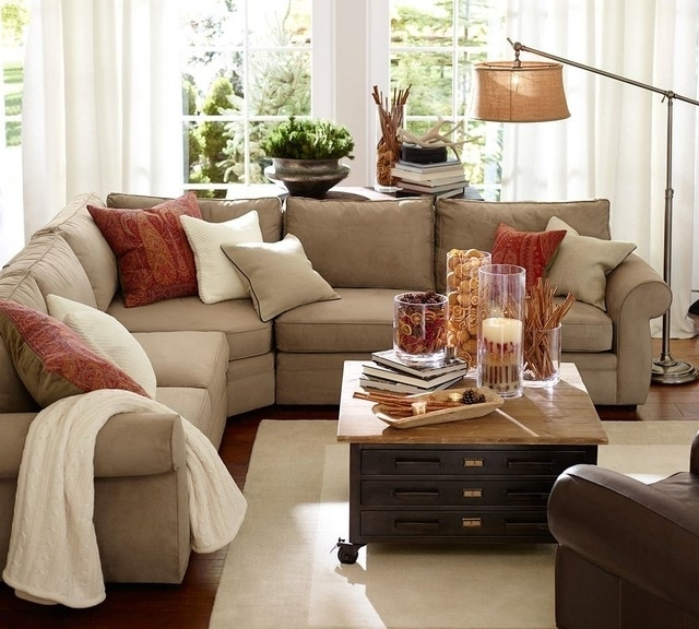 Peace 3 Piece L Shaped Sectional With Wedge Everydaysuede Pottery Within Pottery Barn Sectional Sofas (Image 7 of 10)