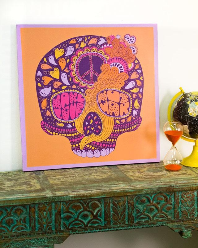 Peace Hippie Skull Canvas Art From Earthbound Trading Co (View 5 of 20)