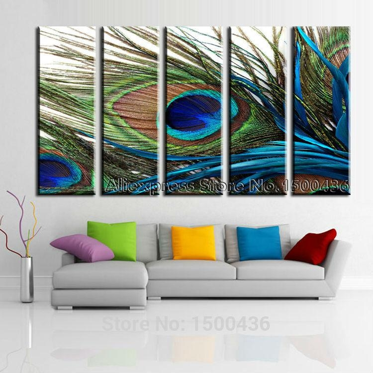 Peacock Feather Modern Abstract Huge Oil Painting On Canvas 5 Inside Modern Abstract Huge Oil Painting Wall Art (Image 15 of 20)