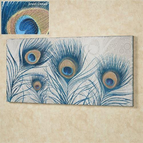 Peacock Feathers Jeweled Canvas Wall Art With Blue Canvas Wall Art (Image 16 of 20)