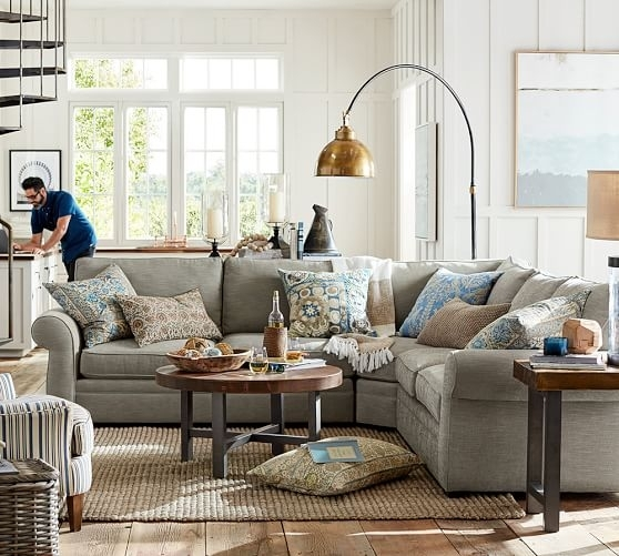Pearce Upholstered 3 Piece L Shaped Sectional With Wedge | Pottery Barn Inside Pottery Barn Sectional Sofas (Image 9 of 10)