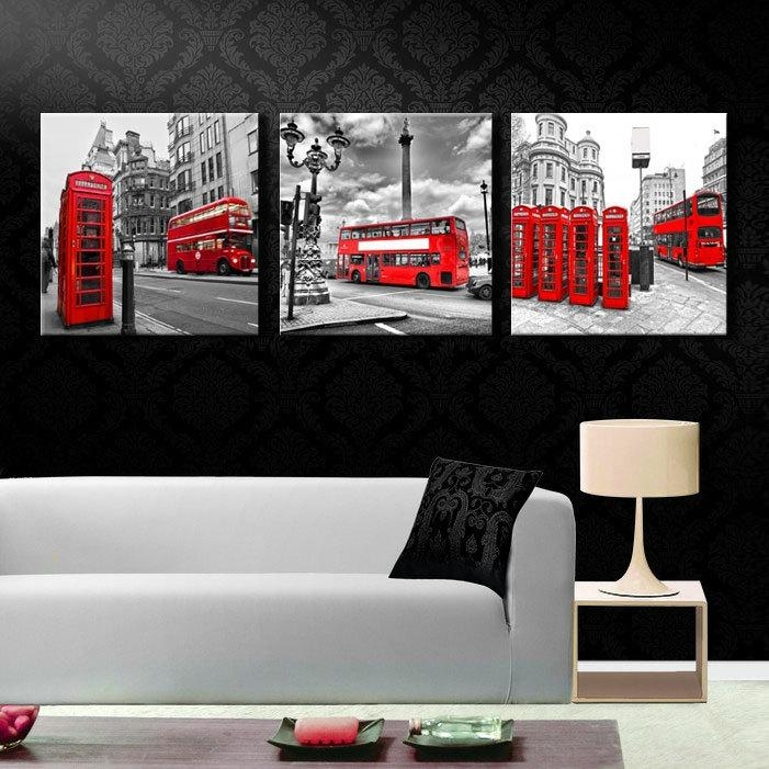 Pictures Cuadros 3 Piece Modern Old London Paris City Eiffel Tower In London Canvas Wall Art (Photo 19 of 20)