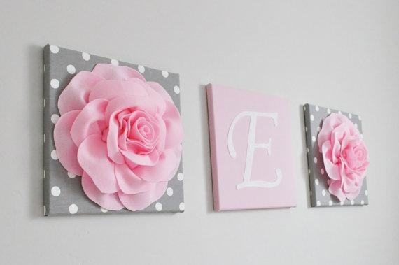 Pink And Gray Nursery Decor Baby Girl Nursery Custom Wall Letters Pertaining To Letters Canvas Wall Art (Photo 6 of 20)