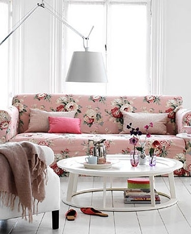 Pink Chintz Pendant Lamp, Modern Country Farmhouse Cottage Chic Throughout Chintz Covered Sofas (Image 8 of 10)