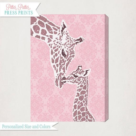 Pink Giraffe Nursery Wall Art Canvas // Girl's Nursery Art In Giraffe Canvas Wall Art (Image 16 of 20)