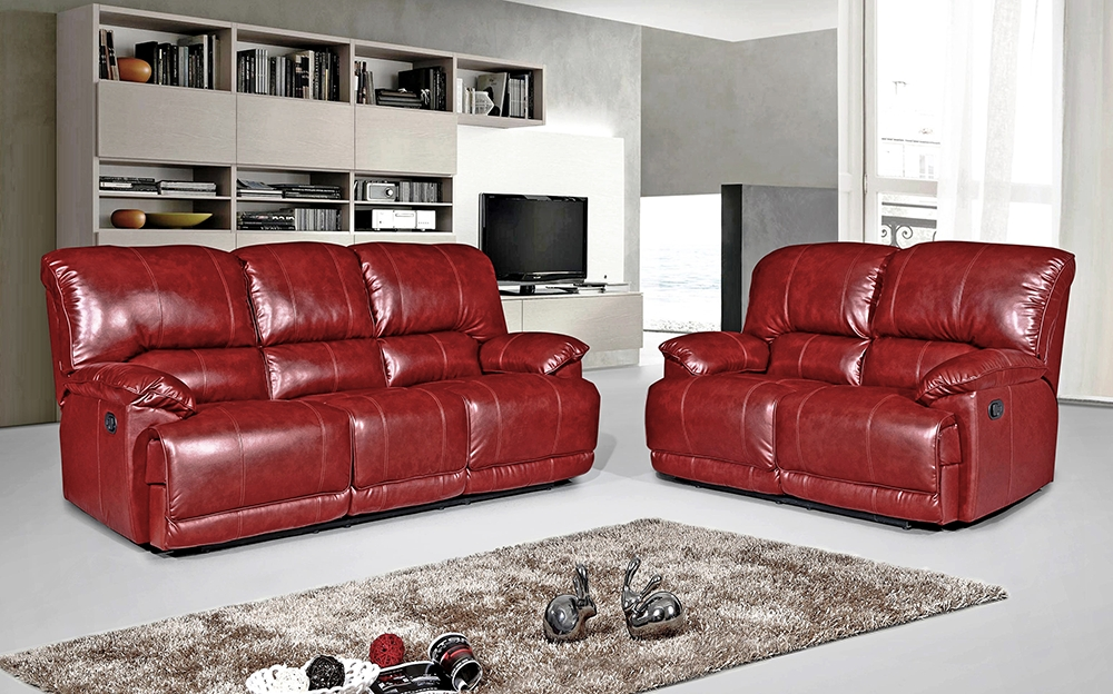 Pippa 3 Seater Leather Reclining Sofa – Red – We Do Sofas In Red Leather Reclining Sofas And Loveseats (View 4 of 10)
