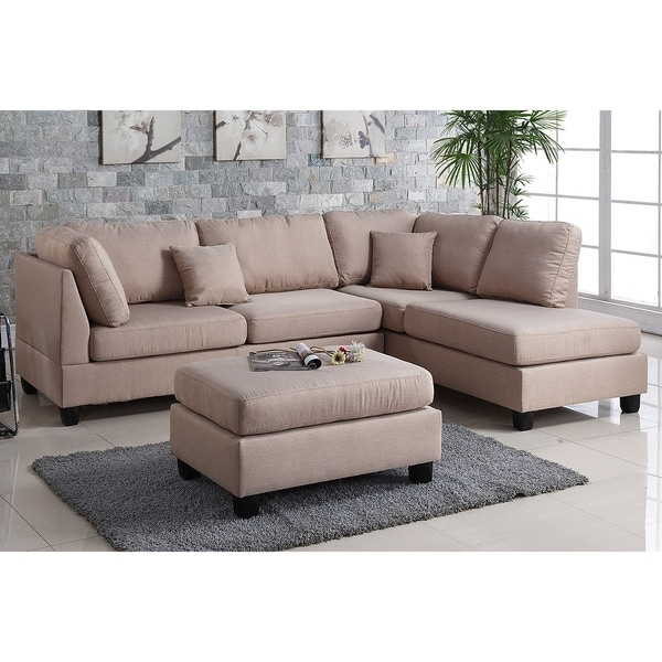 Pistoia 3 Piece Sectional Sofa With Ottoman Upholstered In Fabric Regarding Sofas With Ottoman (Image 8 of 10)
