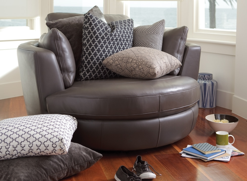 Plush Leather Sofas Round Swivel Cuddle Chair Big Round Swivel Round Inside Cuddler Swivel Sofa Chairs (Image 7 of 10)