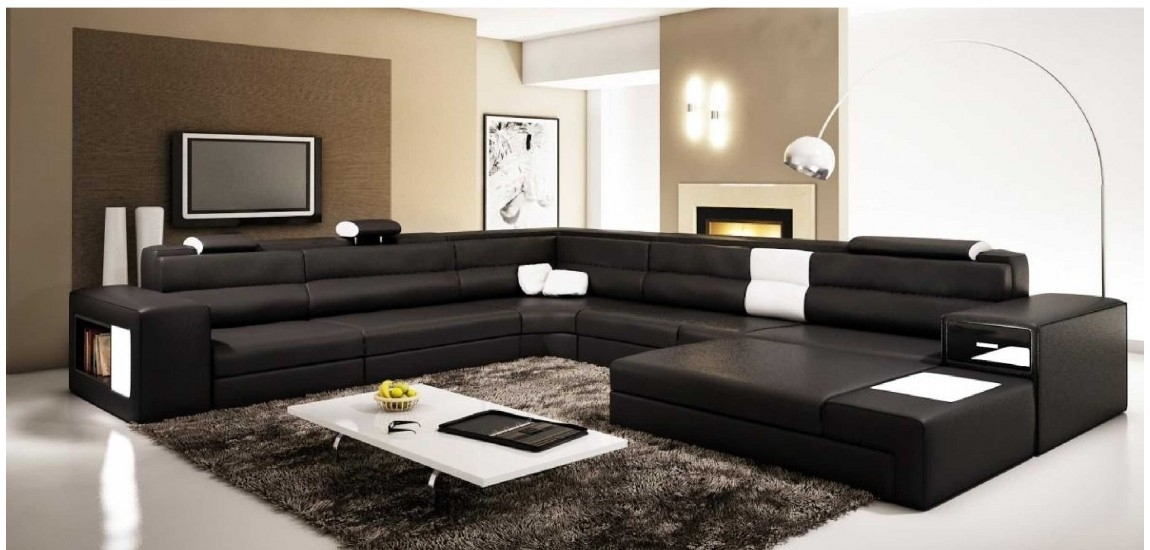Polaris Large Sectional Sofa In Black Leather Intended For Large Sectional Sofas (Image 5 of 10)
