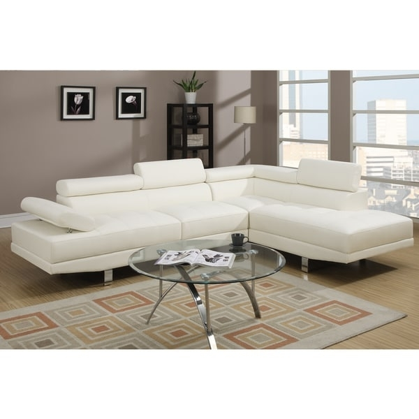 Pomorie White Faux Leather Sectional Sofa Set – Free Shipping Today Pertaining To Overstock Sectional Sofas (Image 8 of 10)