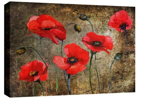 Poppies Print In Red On Brown Mottled Grunge Abstract Background Intended For Poppies Canvas Wall Art (Photo 4 of 20)