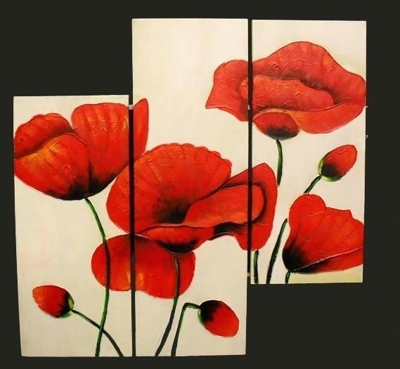 Poppy Canvas Wall Art 3 Piece Abstract Modern Canvas Wall Art Pertaining To Poppies Canvas Wall Art (Image 14 of 20)