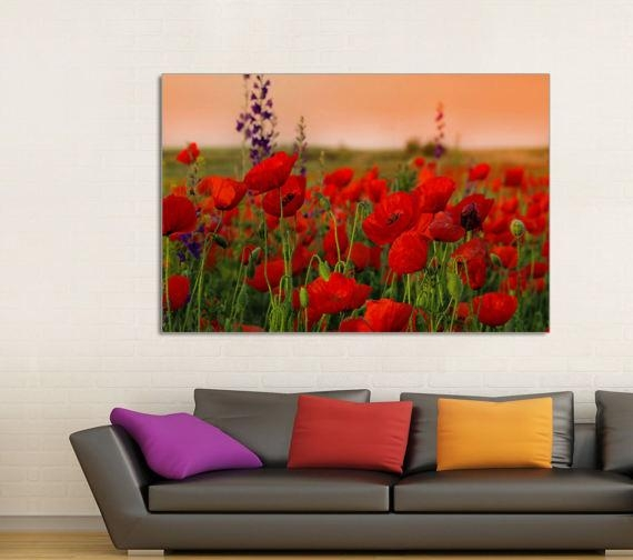 Poppy Field Poppy Canvas Prints Red Poppy Field Home Decor For Poppies Canvas Wall Art (Image 15 of 20)