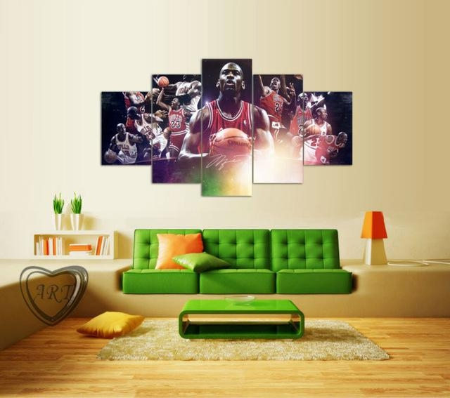 Popular Film Poster Michael Jordan Painting 5 Piece Canvas Art For Michael Jordan Canvas Wall Art (Image 18 of 20)