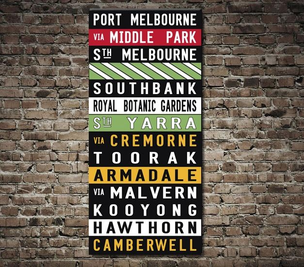 Port Melbourne Coloured Tram Scroll – Canvas Prints Australia In Melbourne Canvas Wall Art (Photo 5 of 20)