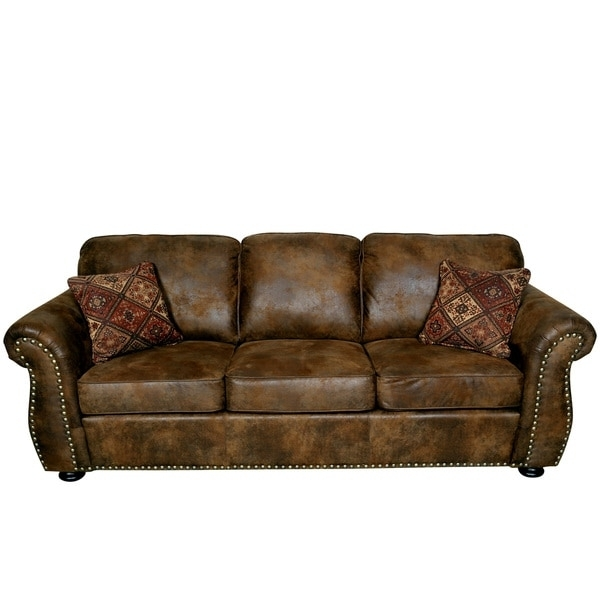 Porter Elk River Brown Microfiber Faux Suede Leather Sofa With 2 Regarding Faux Suede Sofas (Image 8 of 10)