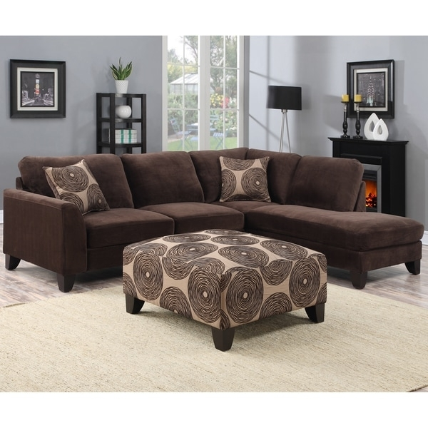 Porter Malibu Chocolate Brown Sectional Sofa With Ottoman – Free Intended For Sectional Sofas With Ottoman (Image 8 of 10)