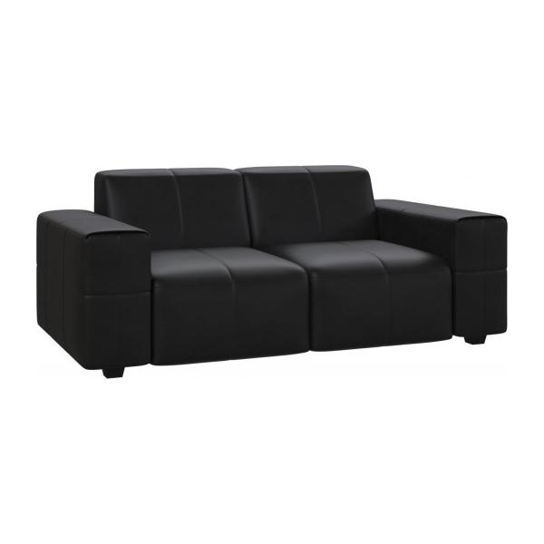 Posada – 2 Seater Sofa In Pullman Aniline Leather, Soft Black – Habitat Pertaining To Black 2 Seater Sofas (Image 8 of 10)