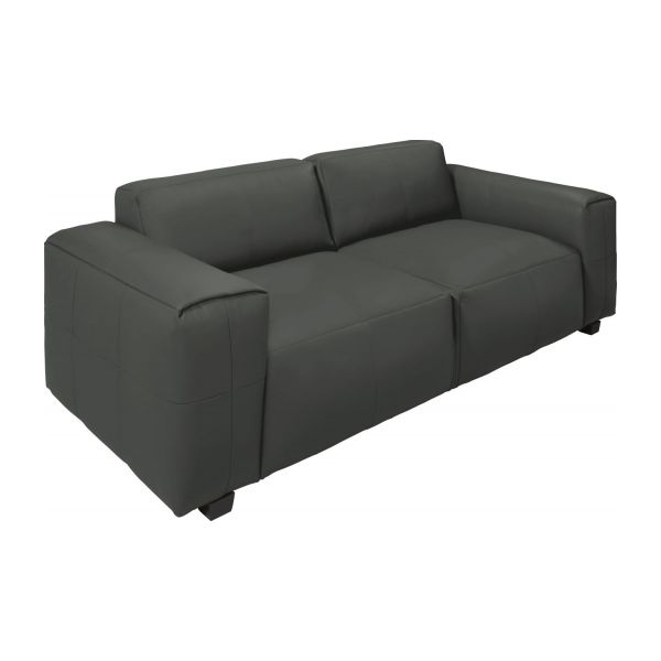 Posada – 4 Seater Sofa In Savoy Semi Aniline Leather, Grey – Habitat Regarding 4 Seat Leather Sofas (Image 10 of 10)