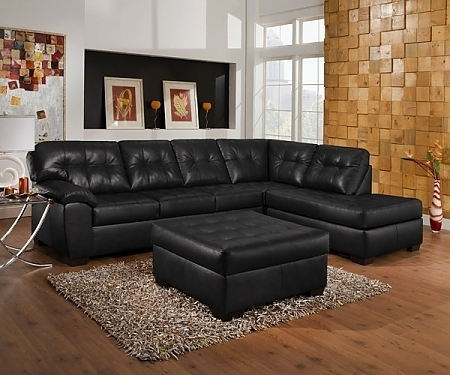 Pottery Barn Style Leather Sectional And Cocktail Ottoman – $1199 For Black Leather Sectionals With Ottoman (Image 10 of 10)