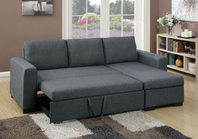 Poundex F6931 2 Pcs Blue Grey Fabric Storage Chaise Sectional Sofa With Sectional Sofas At Ebay (Image 5 of 10)
