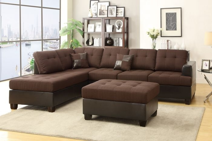 Poundex F7602 3 Pcs Chocolate Reversible Sectional Sofa Throughout Chocolate Sectional Sofas (Photo 3 of 10)