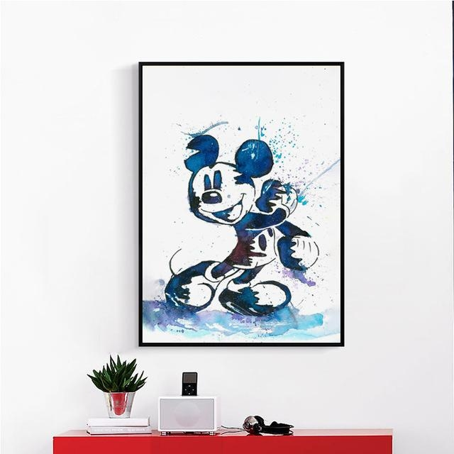 Pretty Cartoon Art Artistic House Mural Original Watercolor Mickey Intended For Mickey Mouse Canvas Wall Art (View 4 of 20)