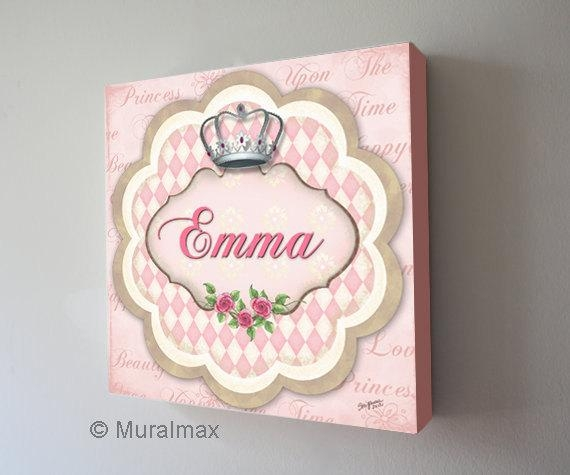 Princess Crown Nursery Art Baby Girls Nursery Canvas Art For Personalized Nursery Canvas Wall Art (View 4 of 20)