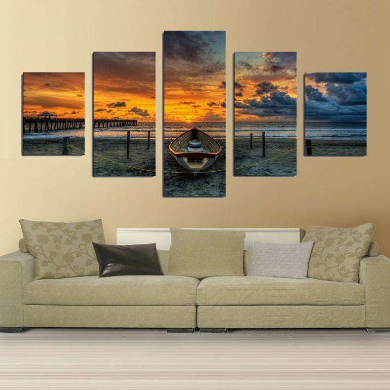 Print Art Canvas Painting 5 Piece Large Hd Seaview Boat For Living Within Living Room Canvas Wall Art (Photo 13 of 20)