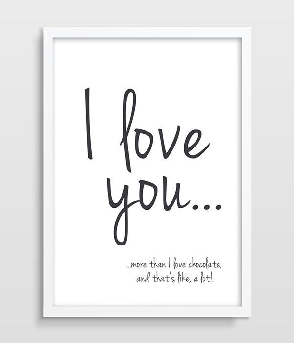 Print I Love You More Than Chocolate Funny Quote Valentines Day With Regard To Canvas Wall Art Funny Quotes (Image 17 of 20)