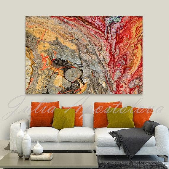Print On Canvas, Abstract Painting, Red And Gold, Colorful Wall Intended For Abstract Living Room Wall Art (Image 15 of 20)